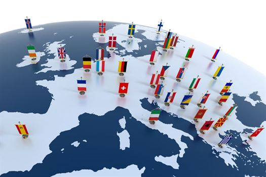 Map of europe with flag pins on countries convention data services map of europe with flag pins on countries gumiabroncs Images